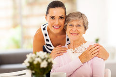 Woman senior mother. Pretty women and senior mother at home Stock Photos
