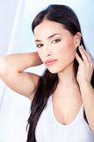 Woman with sensual lips. Pretty woman with sensual lips Stock Photo