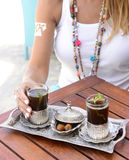 Blonde Woman Sensual Torso, Female - Traditional Arabic Tea Set,  Stock Photos