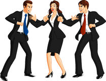 Woman separates two men fighting. Illustration of smartly dressed businesswoman separating two businessmen wearing dark suits angry and fighting each other Royalty Free Stock Photography