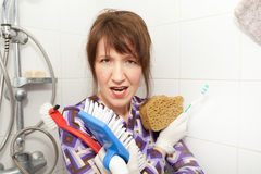 Woman serial cleaner Royalty Free Stock Image