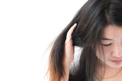 Woman serious damaged hair problem for health care shampoo and b Stock Images