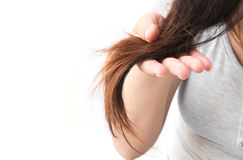 Woman serious damaged hair problem for health care shampoo and b Royalty Free Stock Photos