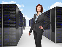 Woman and server Stock Photo