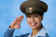 Woman in service cap Royalty Free Stock Image