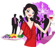 Woman serving food. In a party Stock Photography