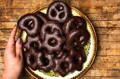Serving homemade chocolate pretzels on a plate stock image