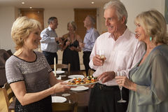 Woman Serving Hors D Oeuvres At Dinner Party Royalty Free Stock Image