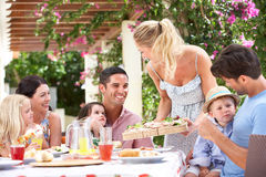 Woman Serving Meal To Two Families stock images