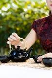 Woman serving tea Stock Photo