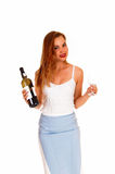 Woman serving wine. Stock Photo