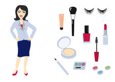 Woman set of icons. Series female icons. Collection makeup icons. Beautiful woman and cosmetic products. Vector icons for Women. Set of icons on a white Stock Images