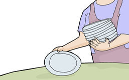 Woman Setting Plates. Cartoon of woman holding stack of plates Royalty Free Stock Photo