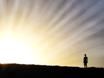 Woman in Setting Sun. Woman Silhouetted by Sunset, Curacao, Caribbean Sea Stock Image
