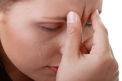 Woman with severe Migraine Headache Royalty Free Stock Photo