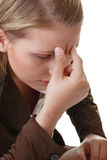 Woman with severe Migraine Headache Stock Photo