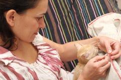 Woman sewing, cat Stock Photos