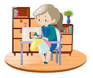 Woman sewing clothes with machine in room. Illustration Royalty Free Stock Image
