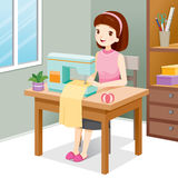 Woman Sewing Clothes By Sewing Machine Stock Photos