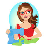 Woman sewing craft chracter seamstress Stock Images