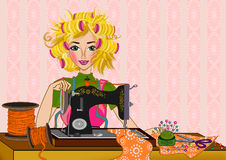 Woman and sewing machine Stock Photos