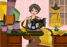 Woman and sewing machine. Old vintage style fashion designer working with sewing machine illustrations concept background