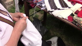 Woman sewing stock footage