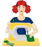 Woman sews Stock Photo