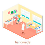 Woman sews on the sewing machine. Isometric room interior. Stock Images