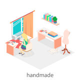 Woman sews on the sewing machine. Isometric room interior. Royalty Free Stock Photos