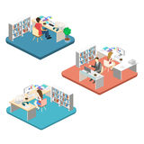 Woman sews on the sewing machine. Isometric room interior. Flat 3D object. Stock Photography