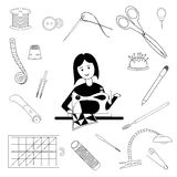Woman sews and tools for tailoring Stock Image