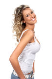 Woman sexy. Happy sexy woman smiling. Isolated over white background Stock Photography
