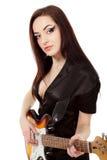 Woman sexy beautiful musician Stock Photo