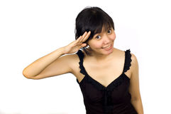 Woman in Sexy Black Dress Salute. On White Background Stock Photography