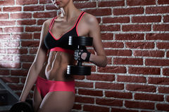 Woman with sexy body and perfect toned abs Stock Images