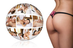 Woman sexy buttocks near collage ball Stock Images