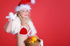 Woman in sexy christmas outfit Royalty Free Stock Photography