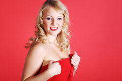 Woman in sexy christmas outfit Royalty Free Stock Image