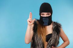 Woman sexy girl in balaclava, crime and violence Royalty Free Stock Photo