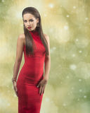 Woman with sexy red  dress Stock Photos
