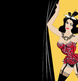 Woman in red lingerie, brunette with bow on the head is holding the curtain. opens a cabaret show. template for Billboar. Lady in the lingerie opens cabaret show Stock Illustration