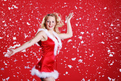 Woman in sexy santa claus outfit Stock Photo