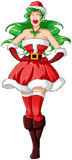 Woman In Santa Clothes For Christmas 2. A illustration of a woman dressed in Santa Claus clothes for Christmas stock illustration