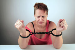 Woman in shackles Royalty Free Stock Images