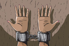Woman in shackles. Illustration of a woman in chains Royalty Free Stock Photography