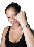 Woman shaking fist Stock Photos