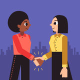 Woman shaking hands vector background (african american and brunette bob hairstyle). Stock Photography
