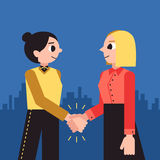 Women shaking hands vector background. Female handshake cartoon minimalistic style. Royalty Free Stock Image