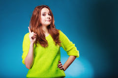 Woman shaking wagging her finger girl scolding Stock Photos